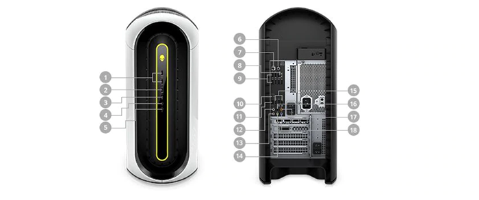 new alienware aurora r10 ports and slots